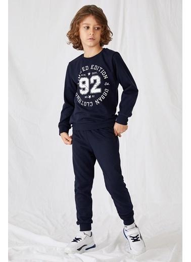 Defacto –Fit Erkek Çocuk Rakam Baskılı Sweathirt ve Eşofman Alt Takım Mavi